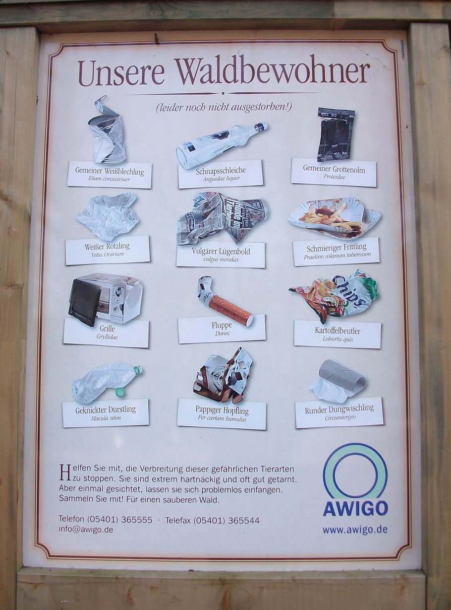 Unsere Waldbewohner (AWIGO-Plakat gegen Müllablagerungen im Wald)