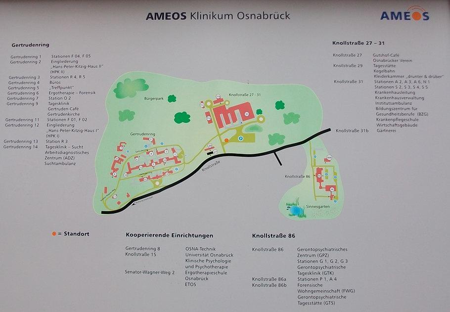 AMEOS-Klinikum Osnabrück Geländeplan