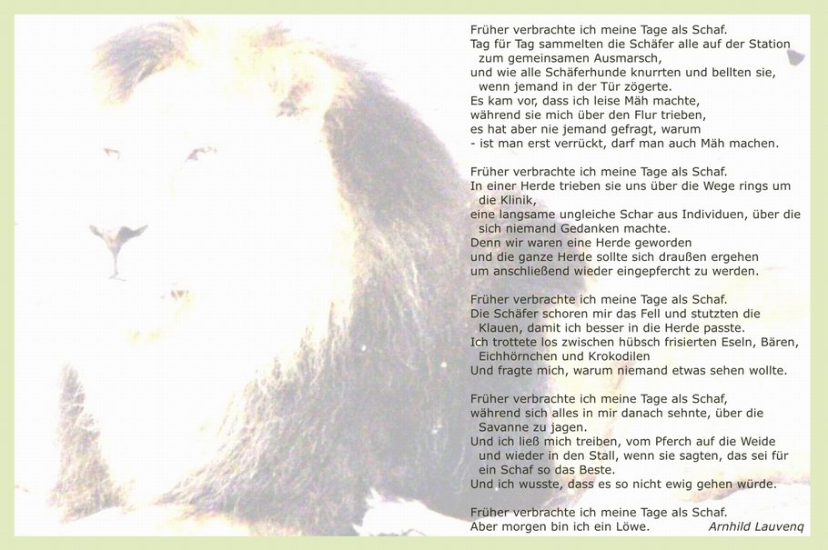 Gedicht: Morgen bin ich ein Löwe von Arnhild Lauvenq