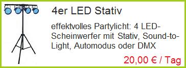 4er LED Stativ mieten - Partylicht mieten Rosenheim, Bad Endorf