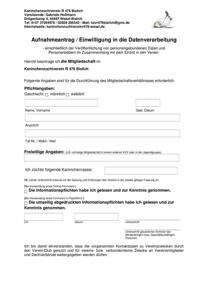 Aufnahmeantrag KZV R476 Bislich