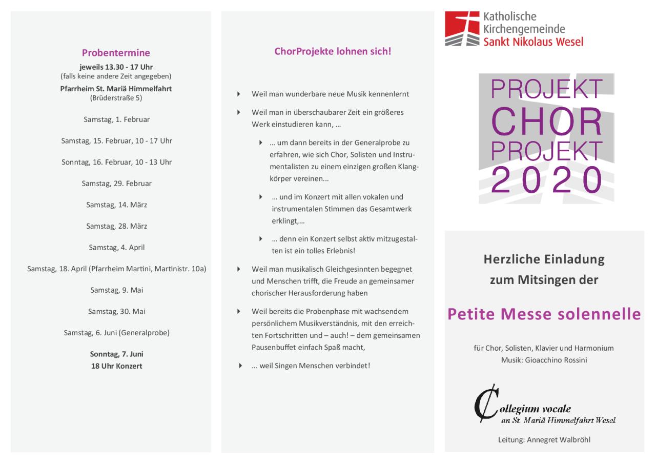 Chorprojekt an St. Maria Himmelfahrt Wesel Rossini Petite Missa solennelle