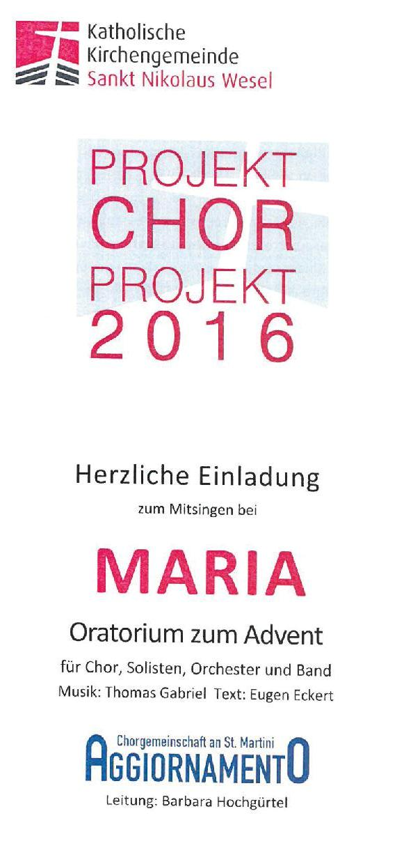 Chorprojekt MARIA an St. Martini - Einladung