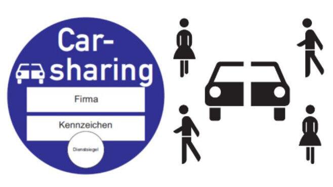 Plakette und Schild für Carsharing©Bundesministerium für Verkehr und digitale Infrastruktur
