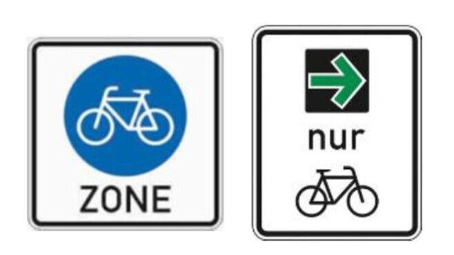 Fahrradzone und grüner Pfeil für Fahrräder©Bundesministerium für Verkehr und digitale Infrastruktur
