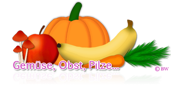 Obst, Gemüse, Pilze, Apfel, Banane, Möhre, Kürbis, Herbst, Grafik, Clipart, Gif, kostenlos, gratis Download