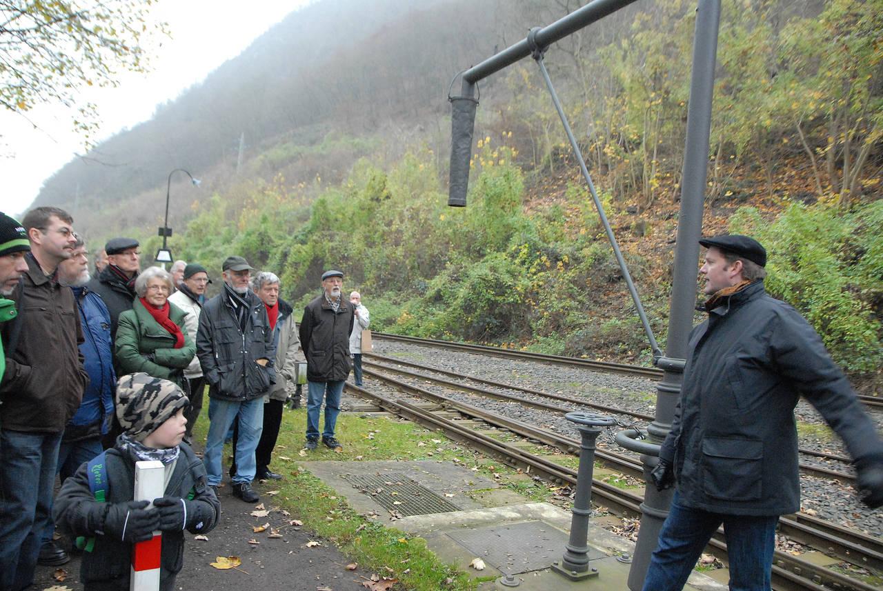 Erläuterung am historischen Wasserhahn der Brohltaleisenbahn