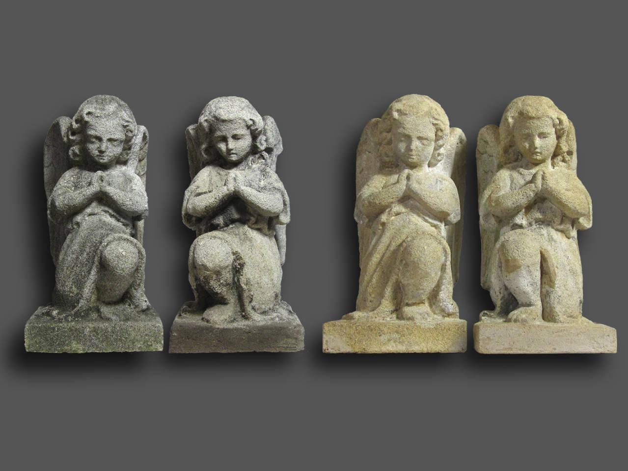 Restaurierte Engel, vor und nach der Reinigung