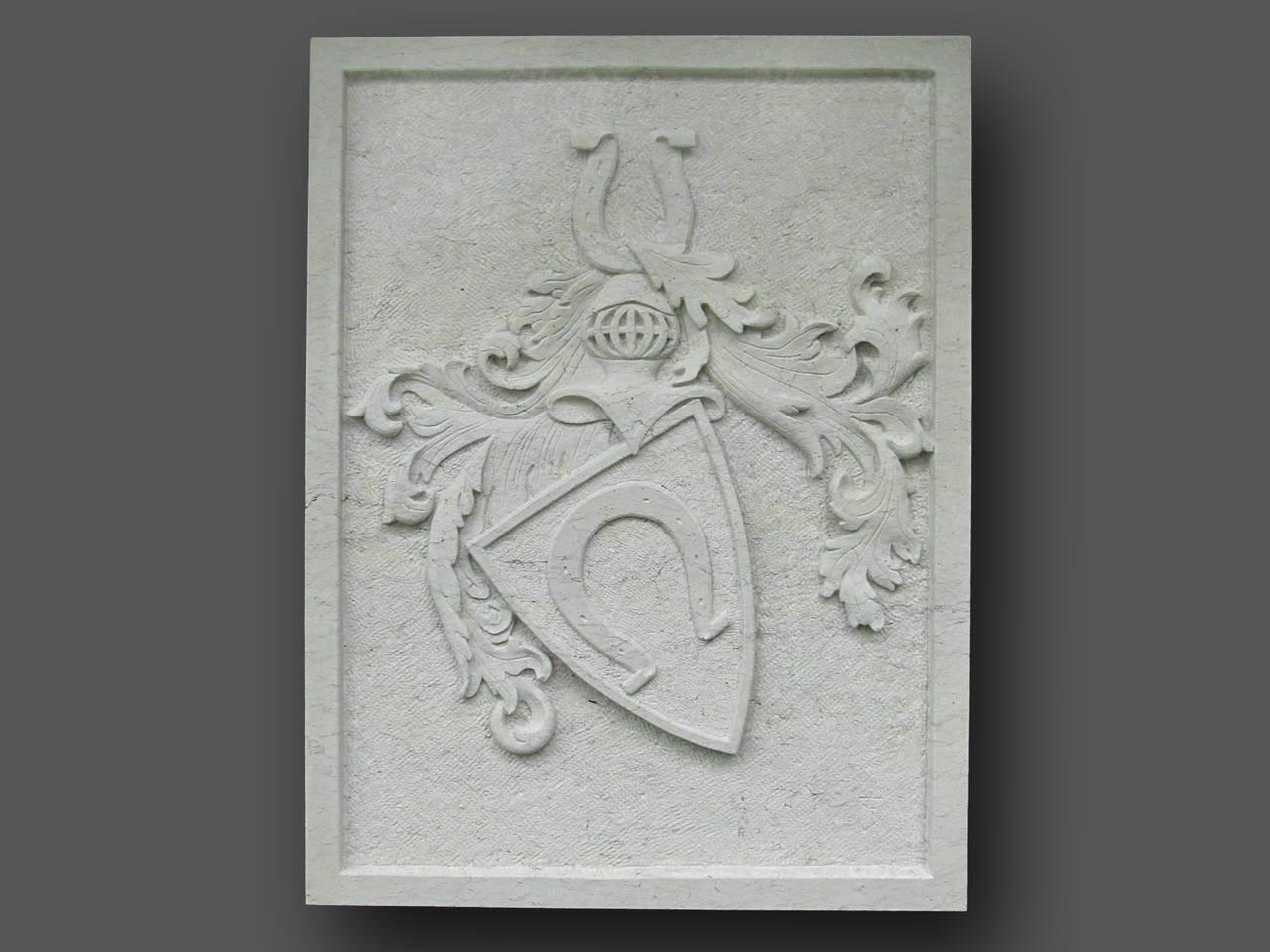 Familienwappen mit Hufeisen, Sandstein