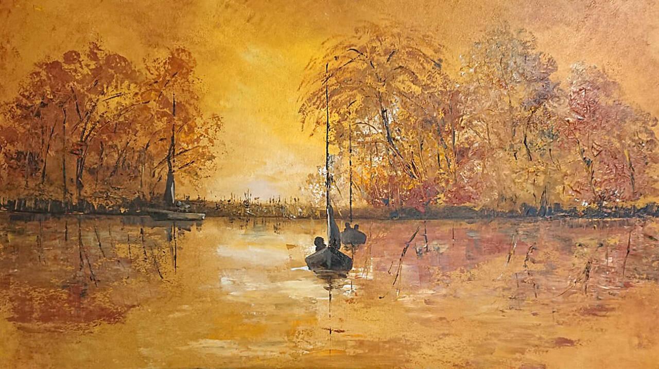 Herbstlandschaft, Acryl, Annette Mamerow