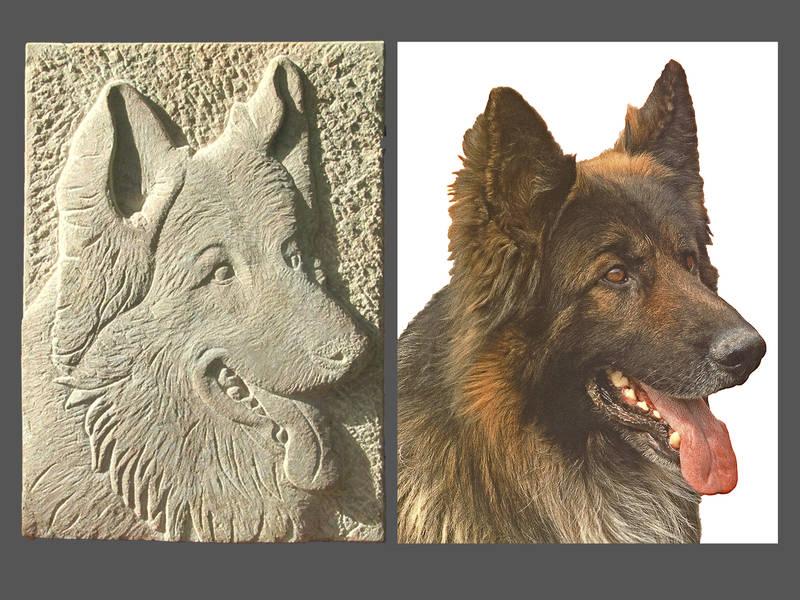 Relief Schäferhund mit Fotovorlage