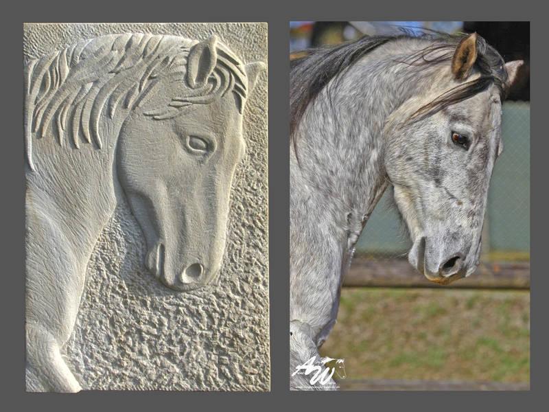 Relief Pferdekopf mit Fotovorlage