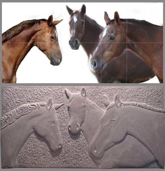 Relief Pferdeansichten mit Vorlage