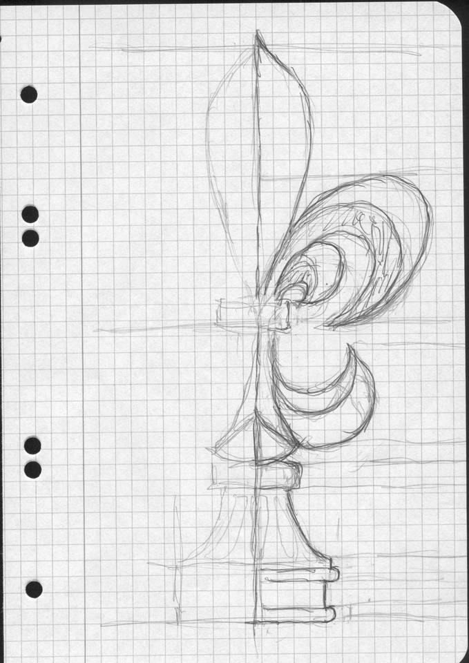 Skizze Frontansicht Lilie