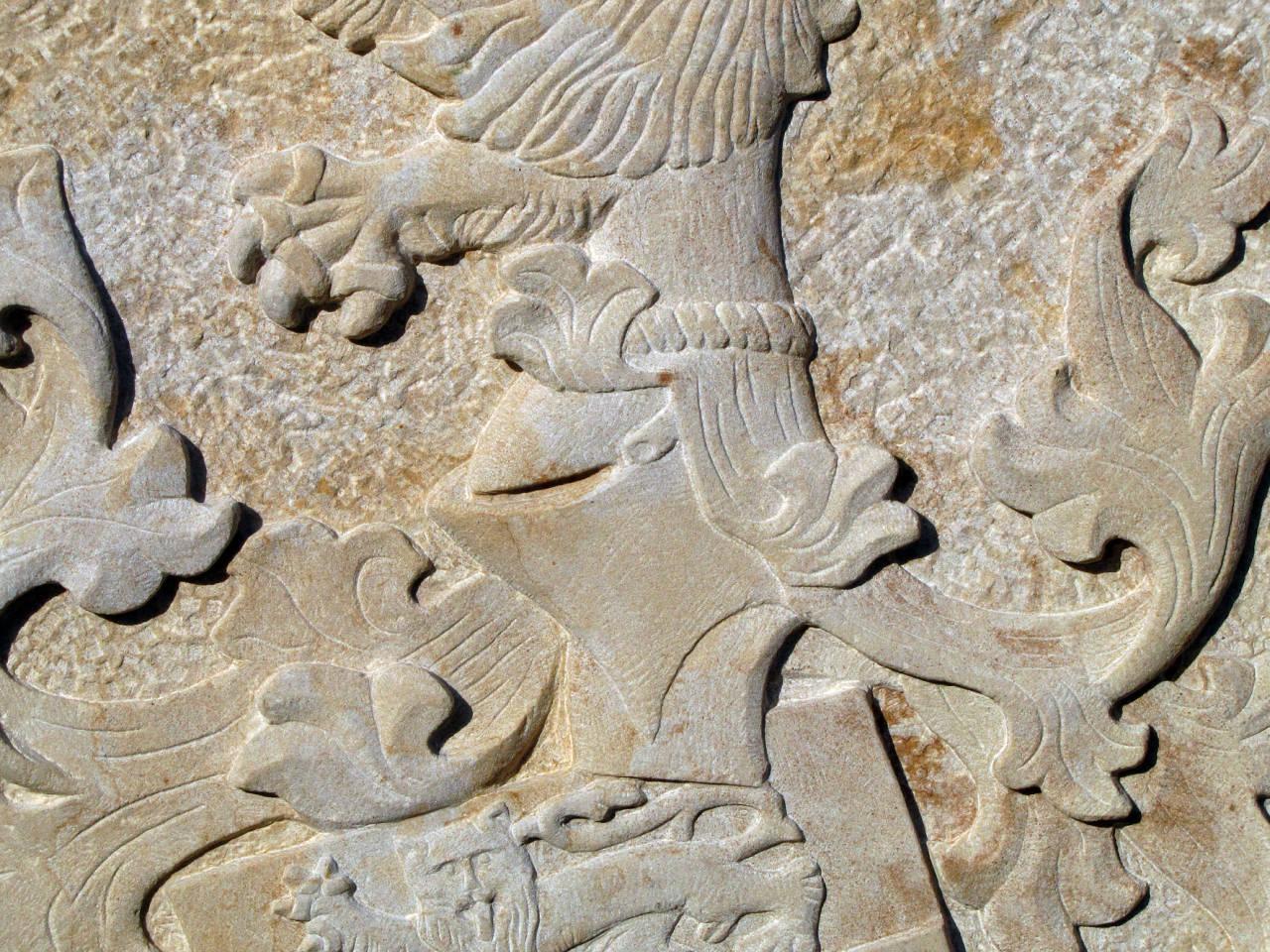 Details im Wappen, Helm und Helmzier