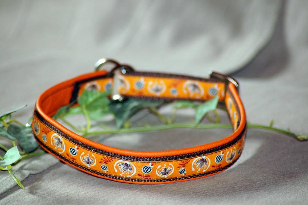 """Halsband Zug-Stop, Borte """"Folklore-Blumen"""" Orange"""