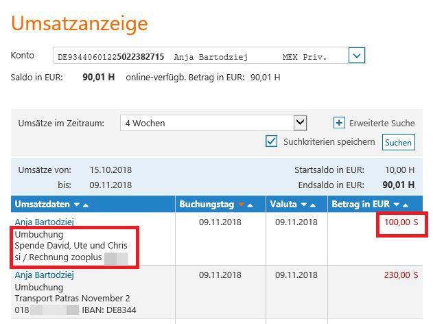 Umbuchung zooplus-Rechnung